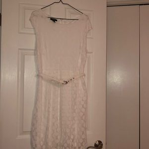 White swiss dot dress perfect for bridal shower!